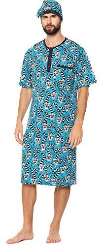 Cornette Herren Kurze Ärmel Nachthemd mit Schlafmütze 109V2020 (Muster-654201, XL)
