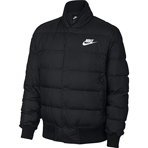 NIKE Men's Sportswear Down Fill Bomber Jacket, Black/White, Large
