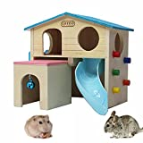 kathson Pet Small Animal Hideout Hamster House with Funny Climbing Ladder Slide Wooden Hut Play Toys Chews for Small Animals Like Dwarf Hamster and Mouse(Blue)