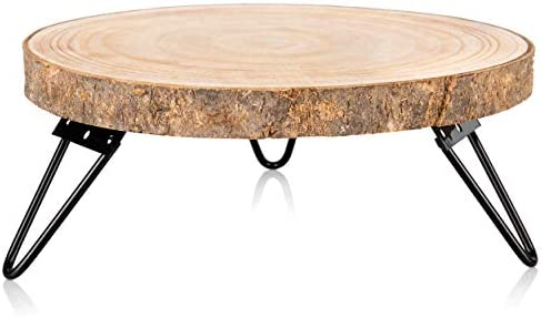 Timber Tree 10 inch Wood Cake Stand for Dessert Table Round Rustic Cake Holder Tray Wooden Serving product image