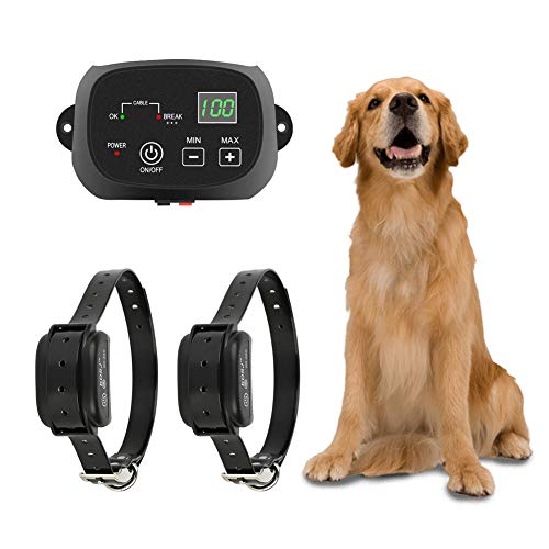 TTPet Electric Dog Fence,In-ground/Aboveground Pet Containment System, IP66 Waterproof&Rechargeable Collar,Shock&Tone Correction,for 2 Dogs