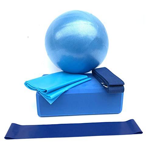 Yinew 5 Piezas de Bloques de Bolas de Yoga, Banda de Estiramiento, Equipo de Gimnasio en casa, Kit de Inicio de Yoga, Regalo para Mujeres y niñas,Azul