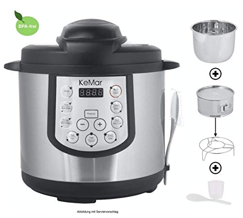 KeMar Kitchenware Multikocher mit Schnellkochfunktion | 15 Programme | Edelstahl Innentopf | BPA-frei | (1.000W, 5L)
