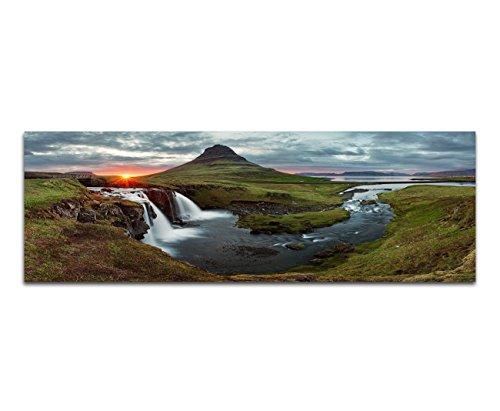 Paul Sinus Art Panoramabild auf Leinwand und Keilrahmen 120x40cm Island Landschaft Berge Wasser Abendlicht