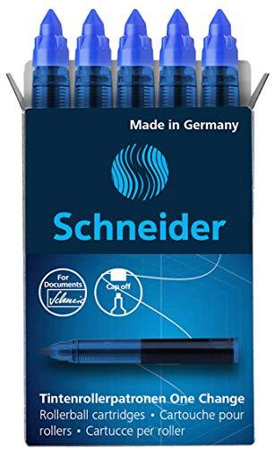 Schneider Rollerpatrone One Change (Für Tintenroller One Change, 1 x 5 Stück) blau