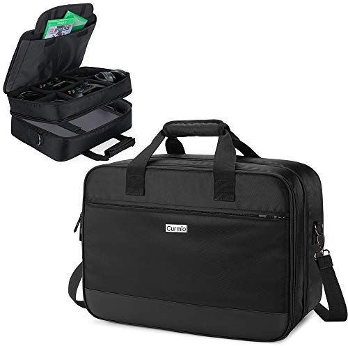 CURMIO Travel Carrying Case Compatible with Xbox One/ Xbox One X/ Xbox 360/ Xbox Series S, Portable Storage Bag Organizer for Xbox Game Console and Other Accessories, Black (Patented Design)