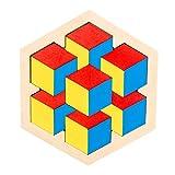 Afufu Tangram Infantil, Montessori Juguetes Puzzle Bebe 3 4 5 Años, Patrón de Forma Hexagonal Tetris, Juegos Educativos Rompecabezas de Madera para Niños Regalo de Cumpleaños