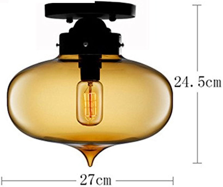MEIHOME Deckenleuchten Modern Retro Glas 27  24,5 cm Gelb Deckenlampe für Schlafzimmer Wohnzimmer Küche Badezimmer