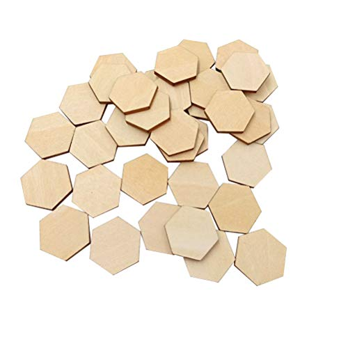 Artibetter 100 Wooden Pieces Hexagon Wood Shape Beech Wood for DIY Arts Craft Project Ready to Paint or...