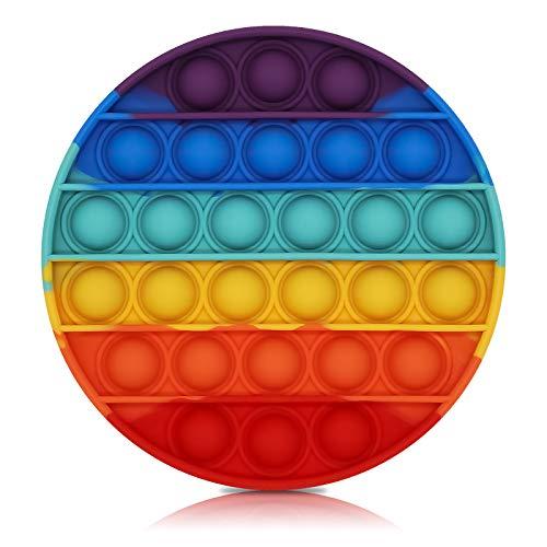 Bdwing Silicona Sensorial Fidget Juguete, Push Pop Bubble Sensory Toy, Autismo Necesidades Especiales Aliviador del Antiestrés del Juguetes para Niños Adultos Relajarse (Rainbow-R)