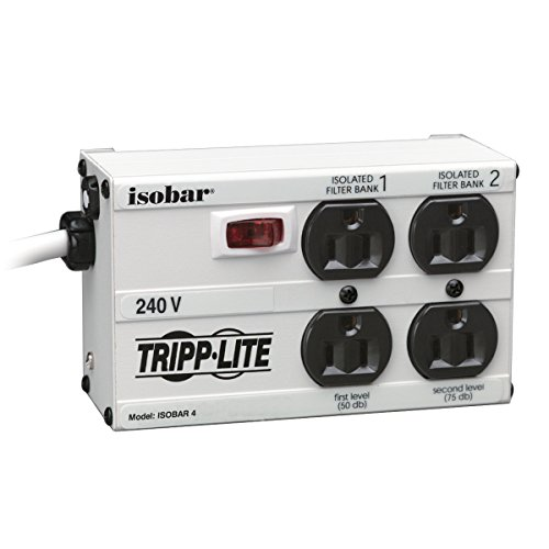 Tripp Lite Isobar 4 Outlet 230V Surge Protector Power Strip, 6ft Cord, Right-Angle Plug, Metal, (IB4-6/220)