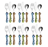 Exzact Cubertería infantil de acero inoxidable, 18 piezas, cubiertos para niños, 6 tenedores, 6 cuchillos seguros, 6 cucharas de cena