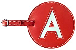 red A luggage tag for marking stored stove alcohol jug