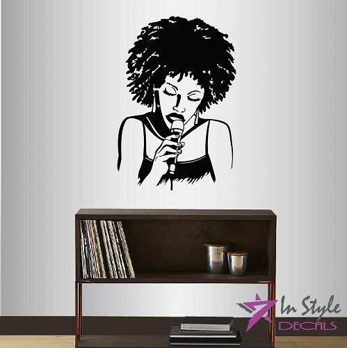 Lplpol muur Vinyl Decal Home Decor Art Sticker Jazz Singer Meisje Vrouw met Afro Haar Zingen In Microfoon Muziek Slaapkamer Woonkamer Verwijderbare Stijlvolle Mural Uniek Ontwerp