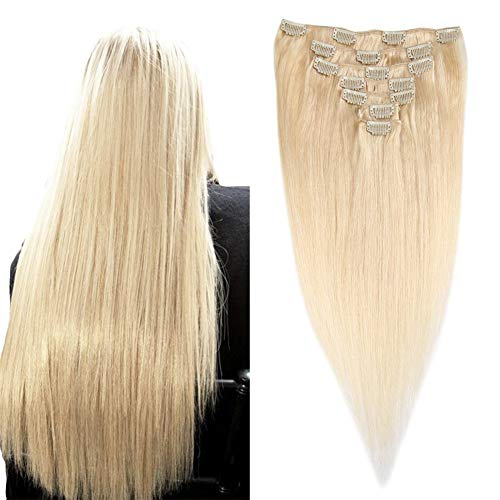 14-inch Silky Straight Human Hair Clip in Ombre Extensions