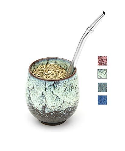 BALIBETOV Set Yerba Mate - Tazza Mate in Ceramica - Bombilla (Paglia) e Spazzola di Pulizia Inclusa - Zucca Mate Moderna Yerba - Zucca Mate facile Da Pulire (Inverno)
