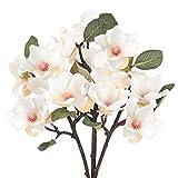 HUAESIN 3PCS Fiori Finti per Decorazioni Interno Esterno 4 Rami Fiori Finti di Magnolia Bianco Fiori in Seta Pianta Artificiale da Tavola Vaso Balconi Sposa Matrimonio Casa 40cm