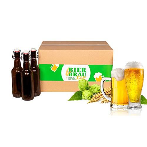 Braupartner Bierbrauset | BierbrauKiste Flaschen-Version HELLES | zum Bier selber brauen | Mit echten Rohstoffen | Geschenk für Männer + Frauen