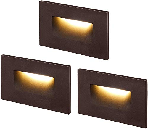 Cloudy Bay 3 Color Indoor and Outdoor12V Low Voltage LED Step Light,3000K/4000K/5000K,Stair Light,Oil Rubbed Bronze,3 Pack, Wet Location