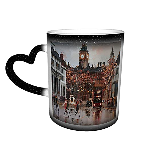 maichengxuan Taza de café con diseño de torre de reloj vintage divertido cambio de color taza de viaje taza de cerámica sensible al calor