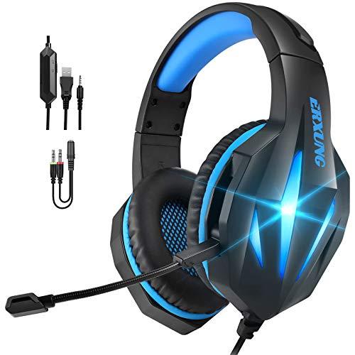Auriculares Gaming PS4 PS5,Cascos Gaming PC con Micrófono,Reducción de Ruido,50mm Drivers Sonido Envolvente y Luz LED,Cascos Gamer para Xbox One/Nintendo Switch/Tablet(Azul)