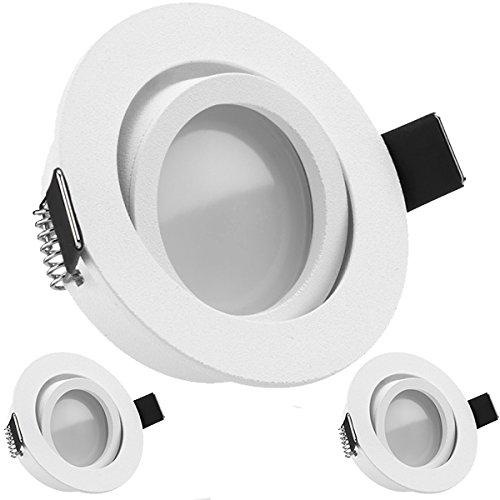 3er LED Einbaustrahler Set Weiß matt mit LED GU10 Markenstrahler von LEDANDO - 5W - warmweiss - 120° Abstrahlwinkel - schwenkbar - 35W Ersatz - A+ - LED Spot 5 Watt - Einbauleuchte LED rund
