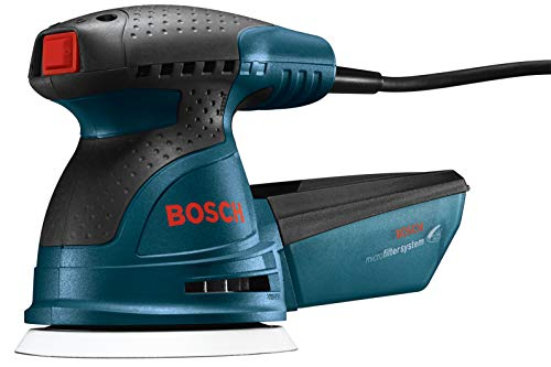 Bosch ROS20VSC Palm Sander - 2.5 Amp 5 Inches Corded Variable Speed Random Orbital Sander/Polisher Kit with Dust Collector and Soft Carrying Bag, Blue
