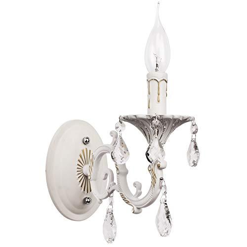 MW-Light 301024501 Shabby Chic Wandleuchte Kerzen Weiß Metall mit Kristall 1 Armig E14 x 60W