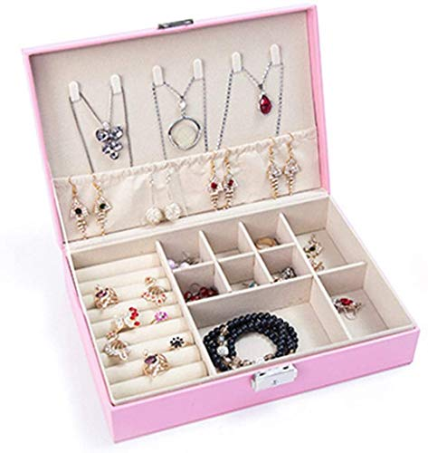 Recet Jewellery box, women's PU leather jewellery storage jewellery case, small jewellery box, jewellery box for rings, earrings, necklace (pink, single layer)