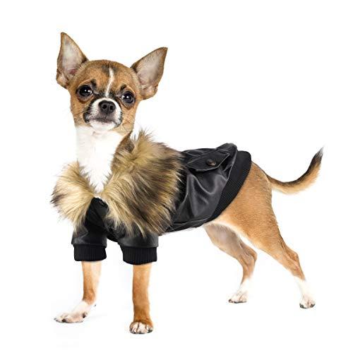 Namsan Hundejacke aus Leder, wetterfest, Mikrofaser-Leder, für kaltes Wetter, warme Hundejacke, XL, schwarz