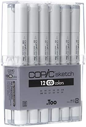 Copic Marker Copic Alcohol Sketch Marker Set, Basic Colors 12 Count