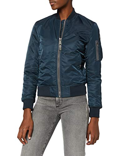 Schott NYC Damen Jacke Airforce1W Ladies Bomber Jacket, Blau (Marineblau), Gr. 34 (Herstellergröße: Small)