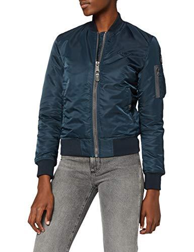 Schott NYC Damen Jacke Airforce1W Ladies Bomber Jacket, Blau (Marineblau), Gr. 34 (Herstellergröße: Small)
