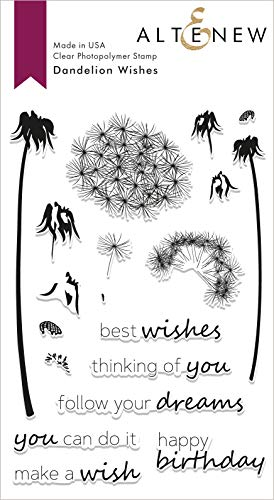 Altenew Dandelion Wishes Photopolymer Stamp Set, 19 Stamps (4' x 6') Card Making, Scrapbooking, Layering Stamps, Inspirational Sentiments, Happy Birthday, Best Wishes