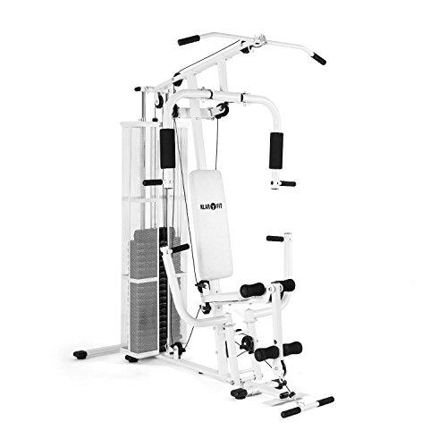 Klarfit Klar Fit Ultimate Gym 3000 - Stazione Fitness Multifunzione, 30 Diversi Esercizi, Regolazione del Peso, Telaio Robusto, Imbottitura, 7 Dischi da 6 kg e Un Peso Principale da 4,5 kg, Bianco