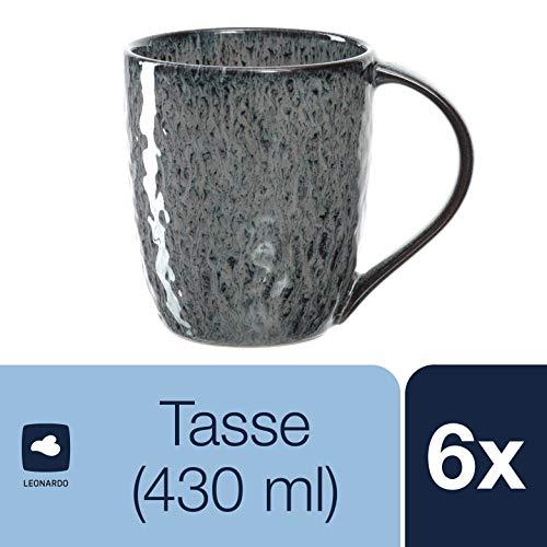 Leonardo Matera Keramik-Tassen, 6-er Set, spülmaschinengeeignete Kaffee-Tassen, mikrowellenfeste Tee-Tassen mit Glasur, anthrazit, 430 ml, 018563