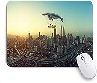 ECOMAOMI 可愛いマウスパッド クジラは空に浮かび、2人の若い妹と飛行機を運ぶ旅行の概念 滑り止めゴムバッキングマウスパッドノートブックコンピュータマウスマット