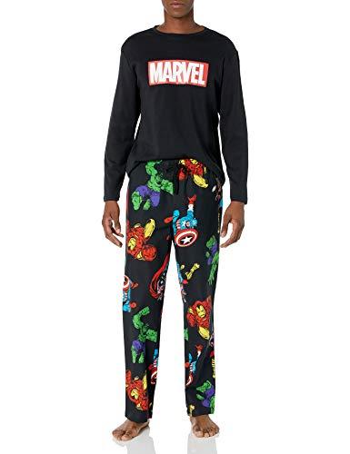Amazon Essentials Disney Star Wars Marvel Flannel Pajamas Sleep Sets Pantalones, 2-Piece Avengers, M