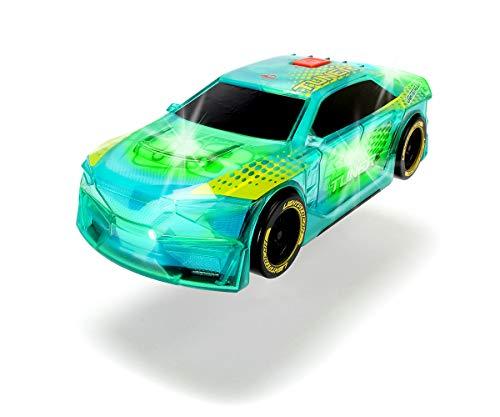 Dickie Toys Lightstreak Tuner, leuchtendes Spielzeugrennauto mit Friktion, Licht & Soundwechsel, inkl. Batterien, 20 cm, grün