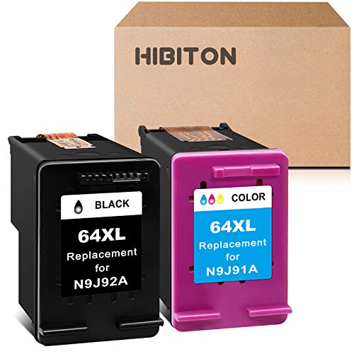 HibiTon Remanufactured Ink Cartridge Replacement for HP 64XL 64 XL(N9J91AN N9J92AN)Work with Envy Photo 7855 7800 7858 7155 6255 6252 6222 7158 7164 Tango X Smart Wireless(1 Black,1 Tri-color) 2 Pack