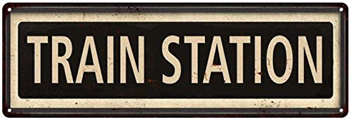 Framed Train Station Sign Vintage Decor Retro Signs Wall Art Tin Decorations Plaque City Railroad 6 x 18 High Gloss Metal 206180066002