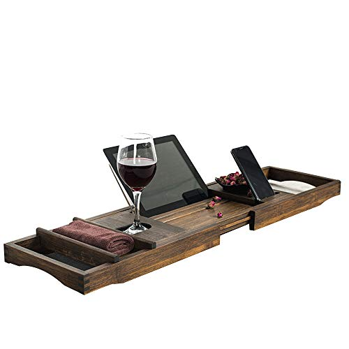 JIE KE Estante de exhibición de madera de bambú de lujo bandeja de bañera, mesa de baño ajustable extensible lados antideslizantes, se adapta a cualquier organizador de almacenamiento de tina