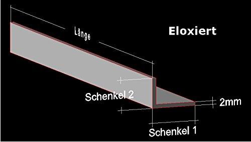 Alu Winkel silber eloxiert E6 EV1; 40 x 20 x 2 mm; Aluprofil L Profil Aluminiumprofil Winkelprofil … (100 cm)
