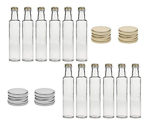 Juego de 6, 12 o 24 botellas de cristal Dorica, capacidad de 250 ml, tapón de rosca plateado, mosto, zumo, cerveza, licor, vinagre y aceite (oro, 6 unidades)