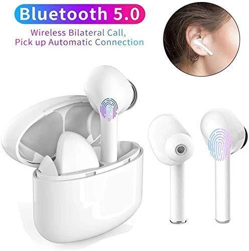 2020 NEU Bluetooth Kopfhörer, Stereo-Minikopfhörer Sport Kabellose Kopfhörer mit Portable Mini Ladekästchen und Integriertem Mikrofon für Android iPhone (Weiß)