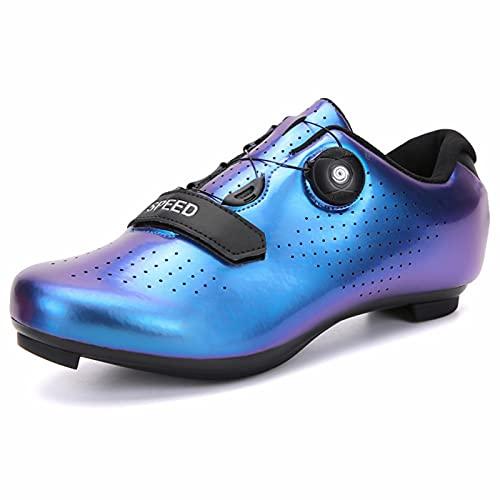 Zapatillas de Ciclismo para Hombres y Mujeres - Cordón Giratorio con Tacos compatibles Peloton con Zapatos de Bicicleta con Pedal SPD y Delta Lock, Bicicletas de Ejercicio en Interiores