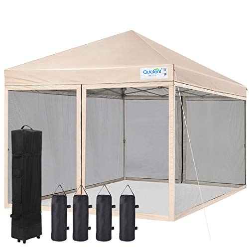 Quictent 8x8 Ez Pop up Canopy with Netting Instant Screen House Gazebo Mesh Side Wall, Roller Bag & 4 Sand Bags Included (Tan)