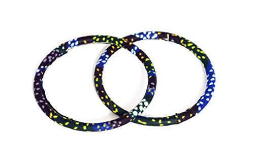 Juego de 2 pulseras de tela 100% Wax fabricadas en Francia de tipo africano. Color negro y amarillo azul. Joya colorida elegante hecha a mano, idea de regalo, accesorio original para mujer.