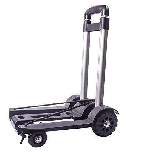 Folding Hand Truck and Dolly, Foldable Truck trolley,50 Kg Heavy Duty 4-Wheel Solid Construction Utility Cart Compact and Lightweight for Luggage, Personal, Travel, Auto, Moving and Office Use