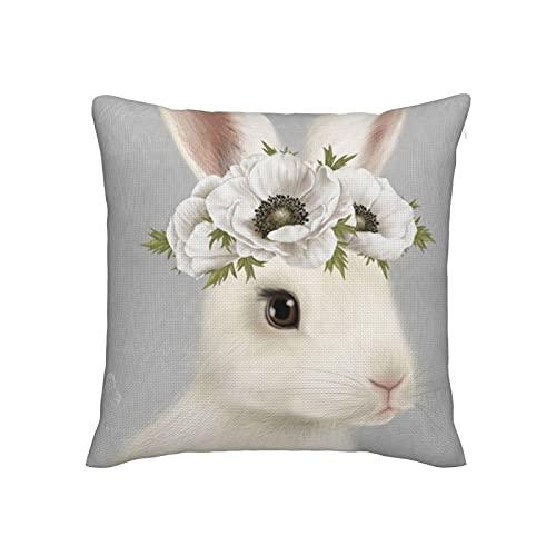 Fundas de almohada decorativas de 45,7 x 45,7 cm, fundas de almohada de imitación de lino de alta calidad para sofá, cama, silla, coche, moderno vintage granja conejo blanco